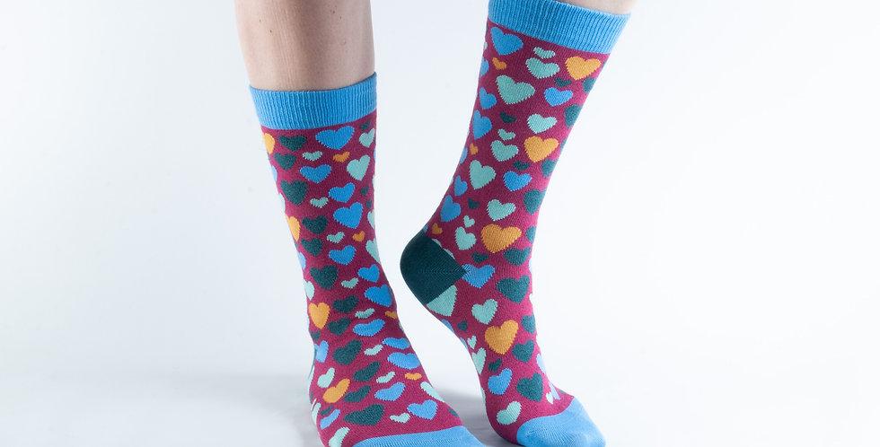 Size 3-7 Magenta Hearts Bamboo Socks