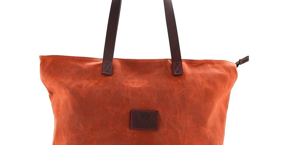 Orange Waxed Canvas Tote Bag