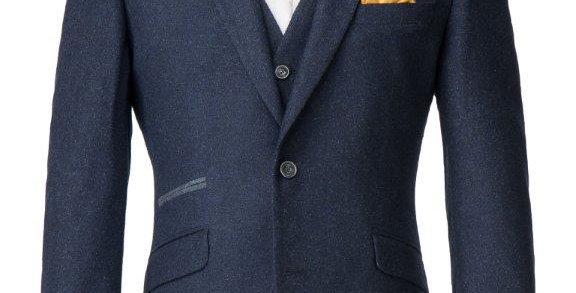 Navy Donegal Tweed Waistcoat