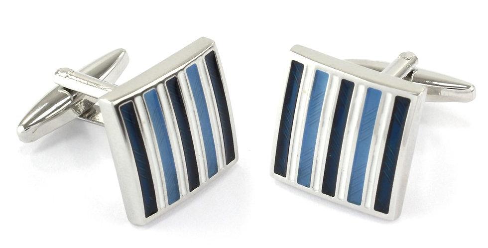 Navy & Blue Stripe Square Cufflinks