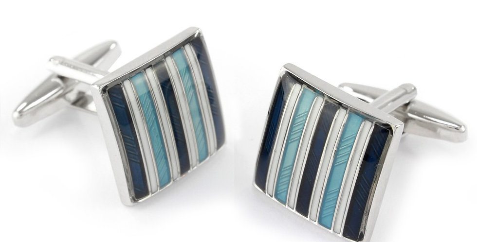 Turquoise Stripe Square Cuffinks
