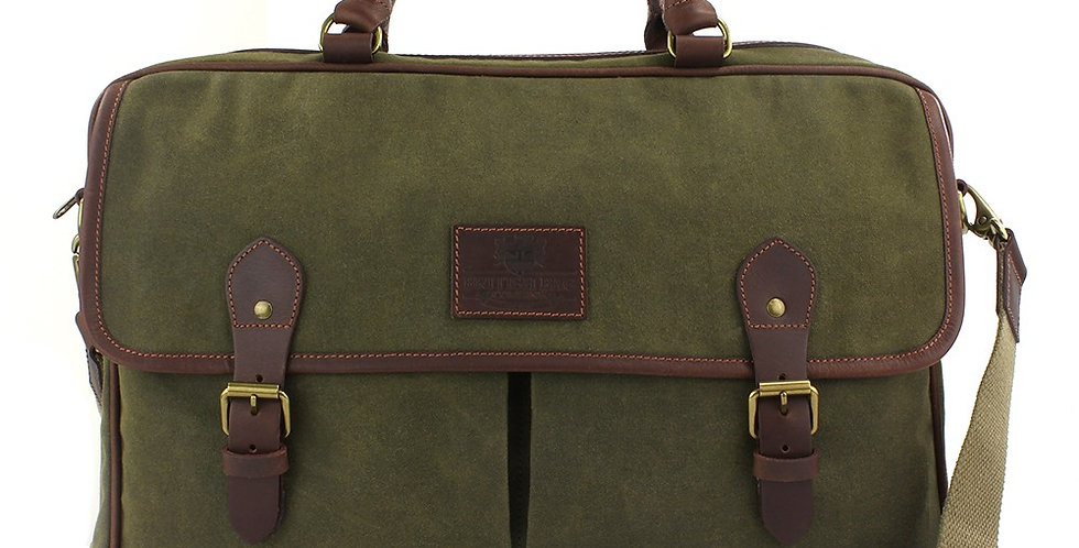 Green Waxed Canvas Messenger Bag