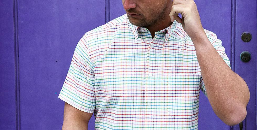 Multi Coloured Plaid Short Sleeve Shirt