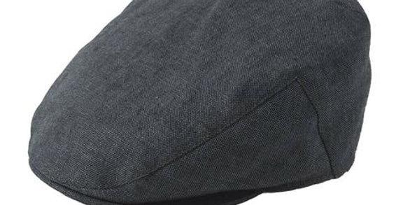 Charcoal Linen Flat Cap