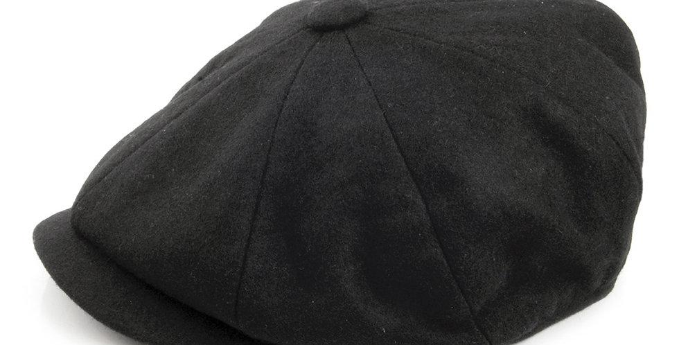 Black Melton Wool 8 Piece Cap
