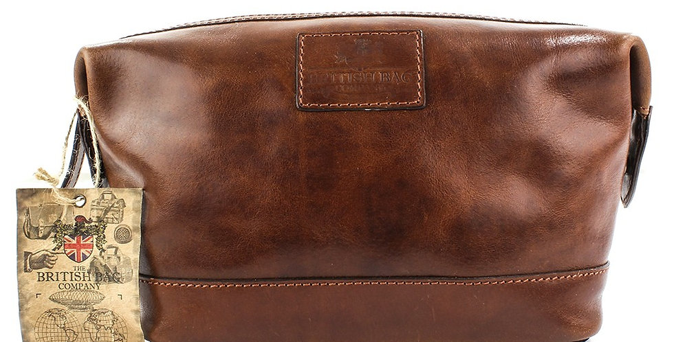 Tan Leather Wash Bag