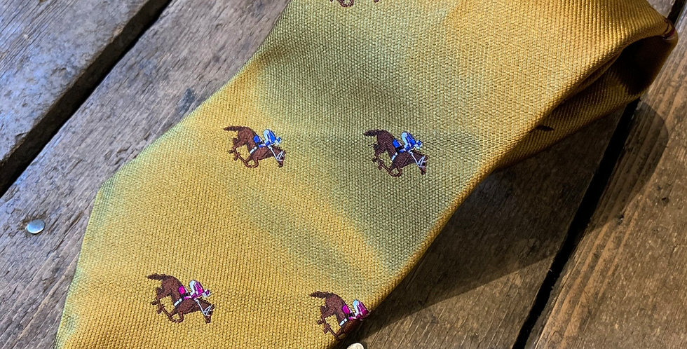 Mustard Racing Horse Embroidered Tie