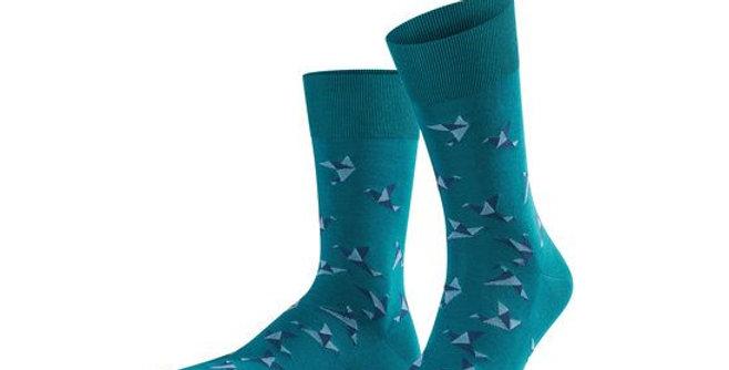 Teal Paper Crane Cotton Socks