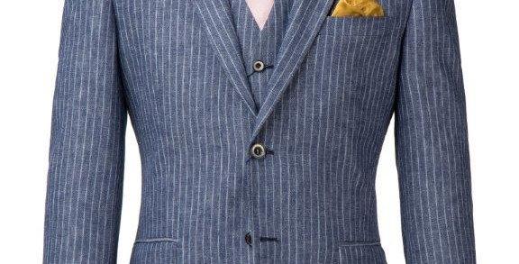 Blue Striped Jacket & Waistcoat