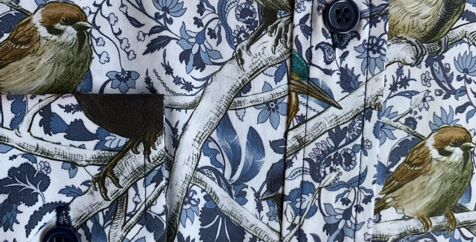 Blue Wild Bird & Floral Shirt
