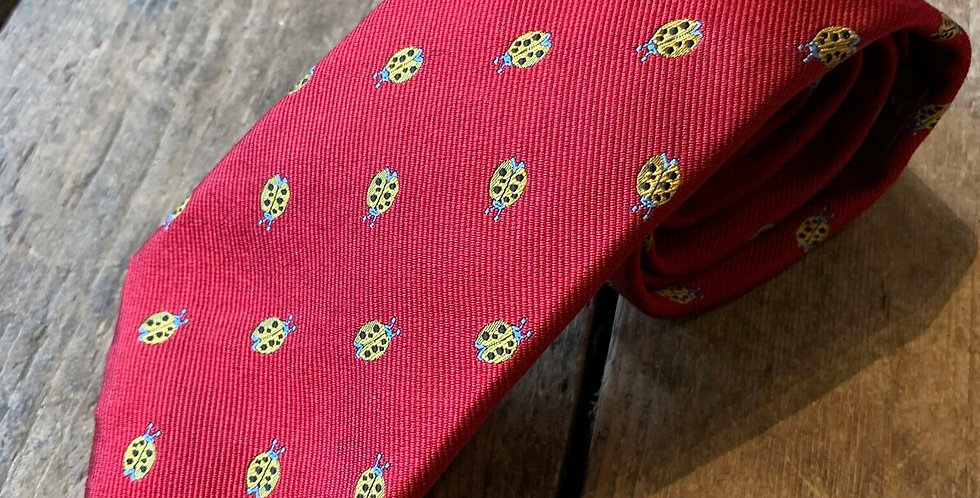 Red Ladybird Embroidered Tie