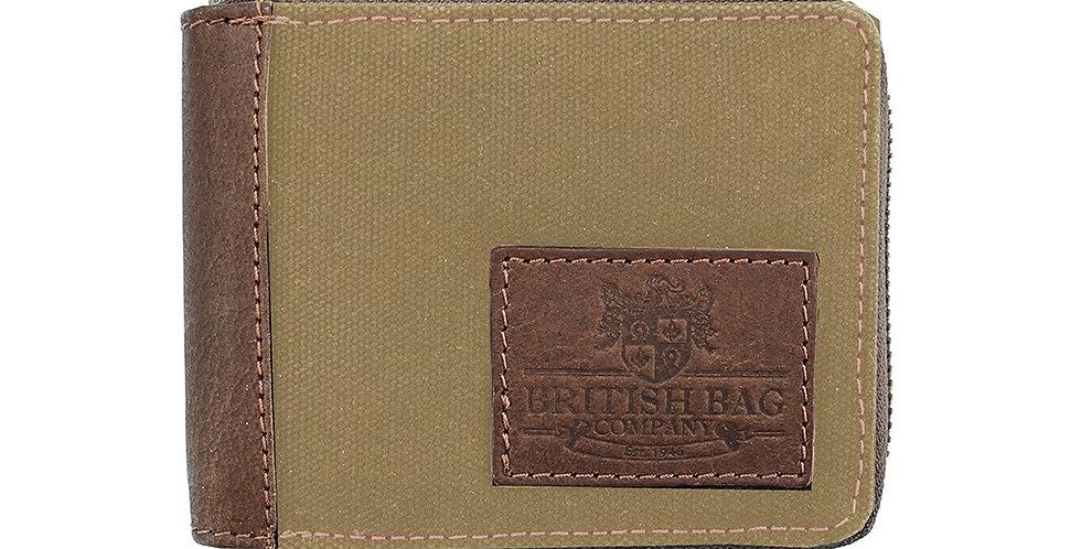 Khaki Waxed Canvas Zip up Wallet