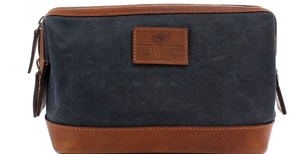Navy Waxed Canvas Washbag