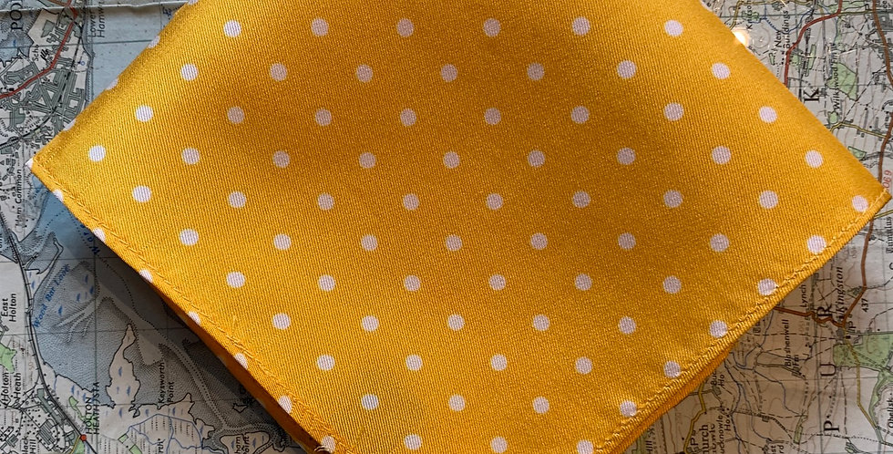 Yellow & White Spot Silk Pocket Square