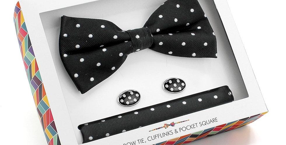 Black & White Spot Cufflinks,Bow Tie & Pocket Square Set