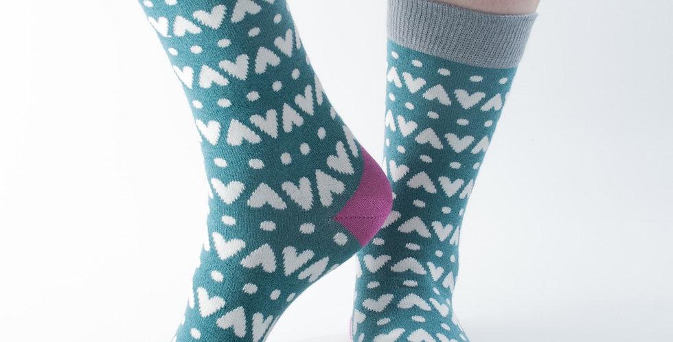Size 3-7 Teal Hearts Bamboo Socks