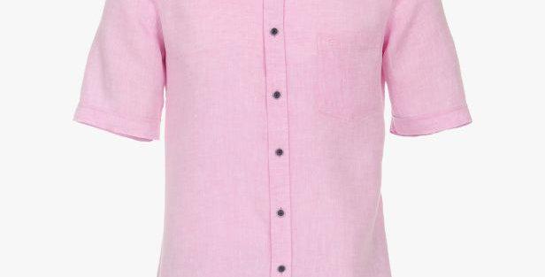 Pastel Pink Linen Short Sleeved Shirt