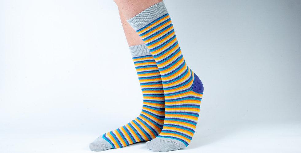 Size 3-7 Bright Stripes Bamboo Socks