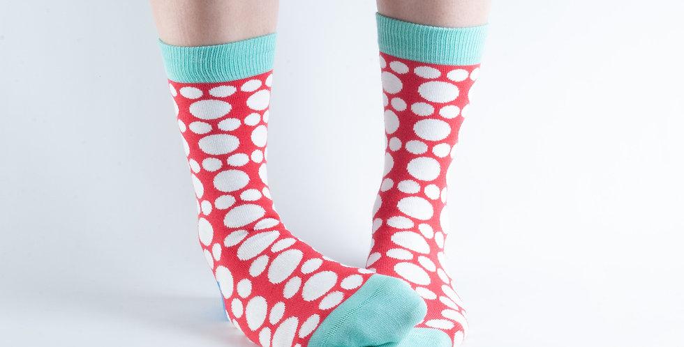 Size 3-7 Big Spot Red  Bamboo Socks