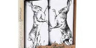 'Boxing Hares' Hankies Set