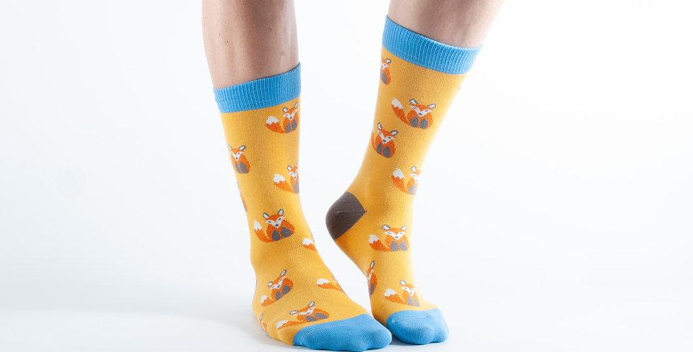 Size 3-7 Yellow Fox Bamboo Socks
