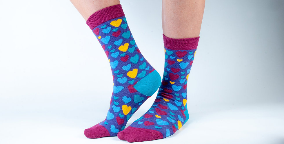 Size 3-7 Purple Hearts Bamboo Socks