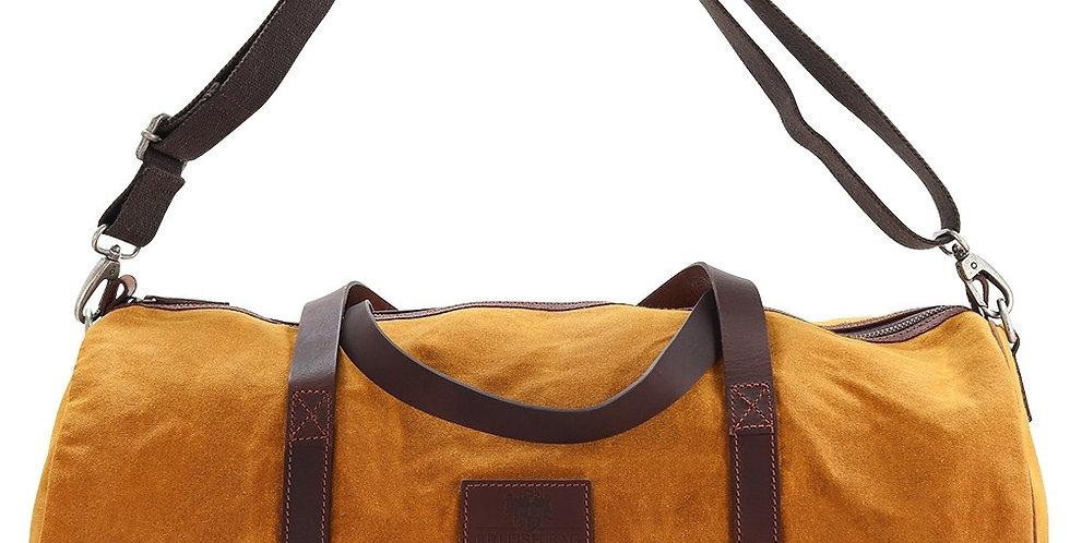 Mustard Waxed Canvas Barrel Bag