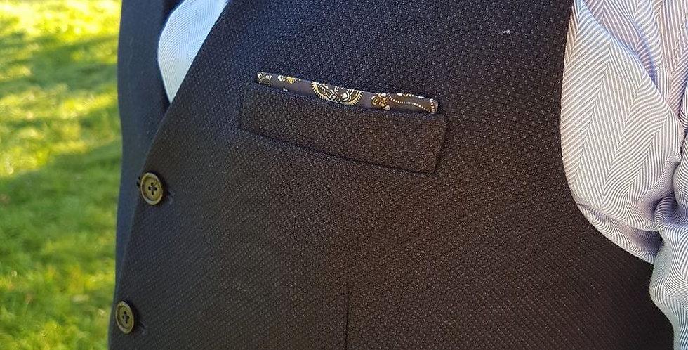 Navy Waistcoat With Paisley Back