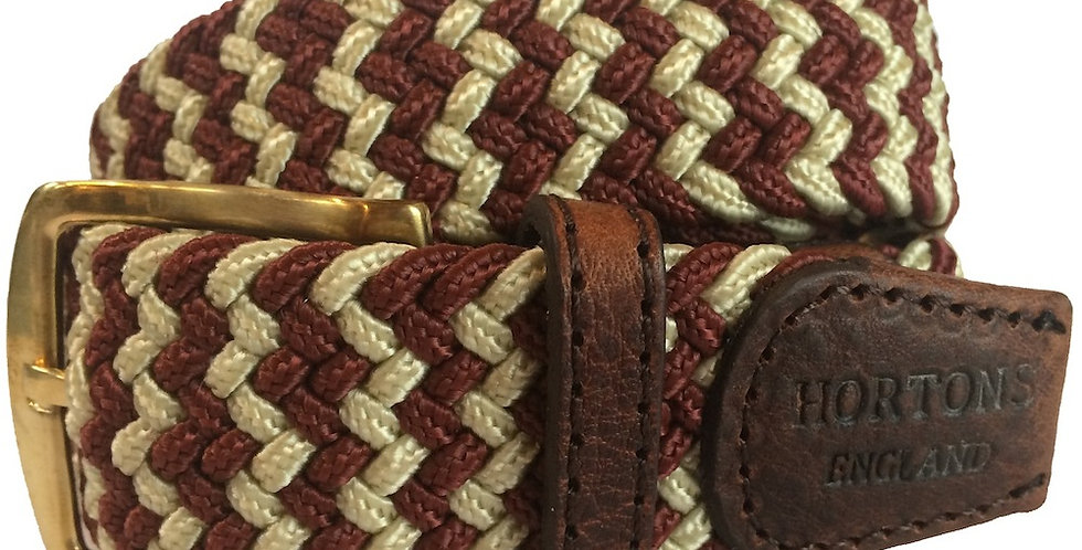 Burgundy & Cream Woven Belt