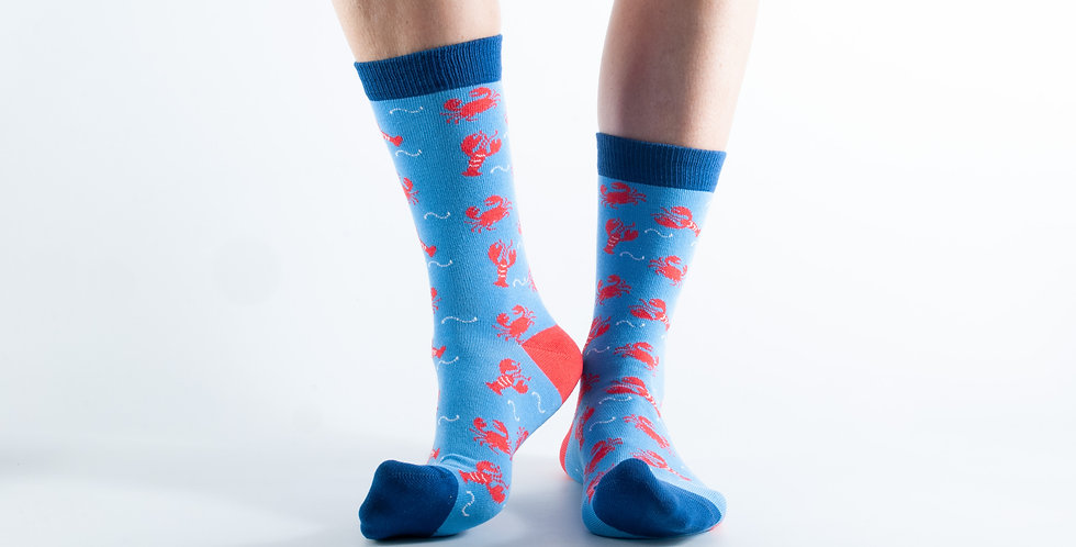 Size 3-7 Blue Lobster Crab Bamboo Socks