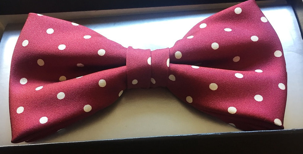 Burgundy & White Spotted Bow Tie
