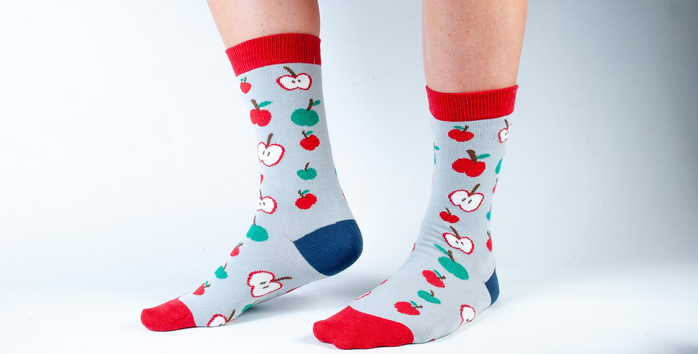 Size 3-7 Grey Apples Bamboo Socks