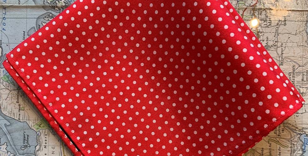 Red & Small White Spot Silk Pocket Square