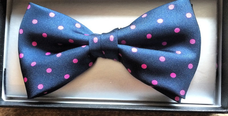 Navy & Pink Spotted Bow Tie