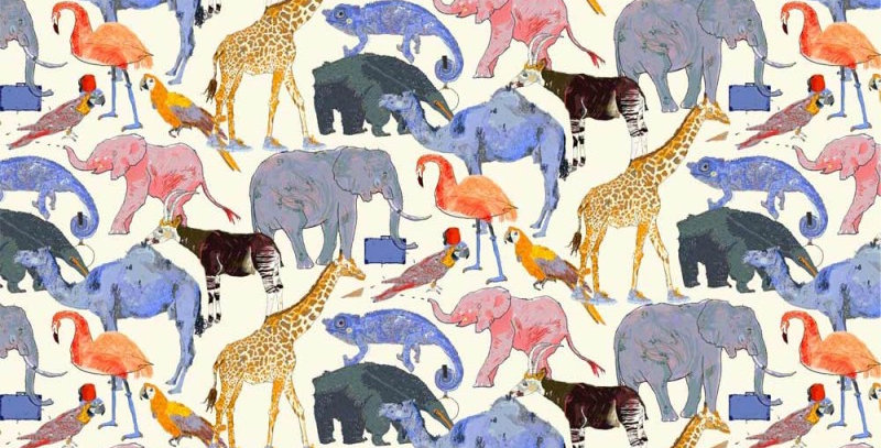 Liberty Print Blue 'Queue For The Zoo' Pocket Square