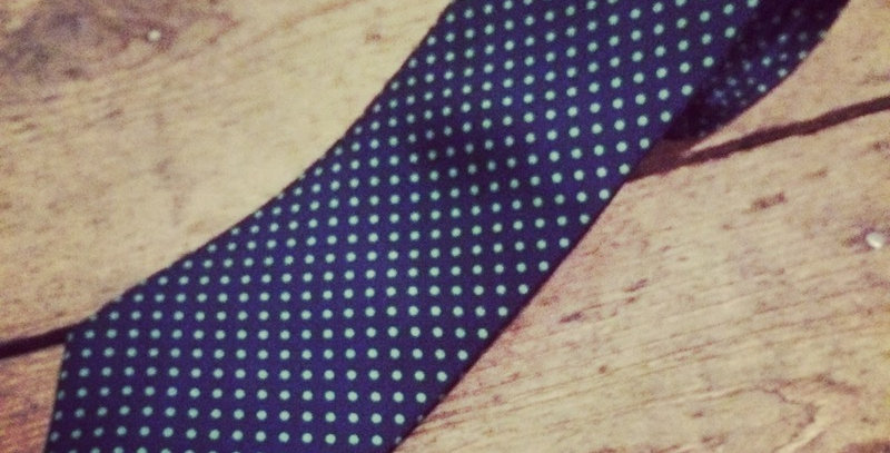 Navy & Green Small Spot Silk Tie