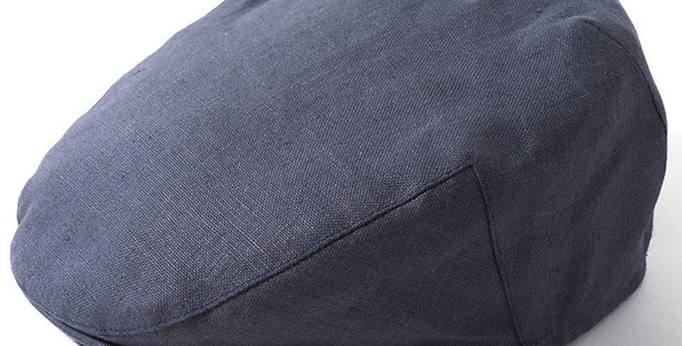 Blue Linen Flat Cap