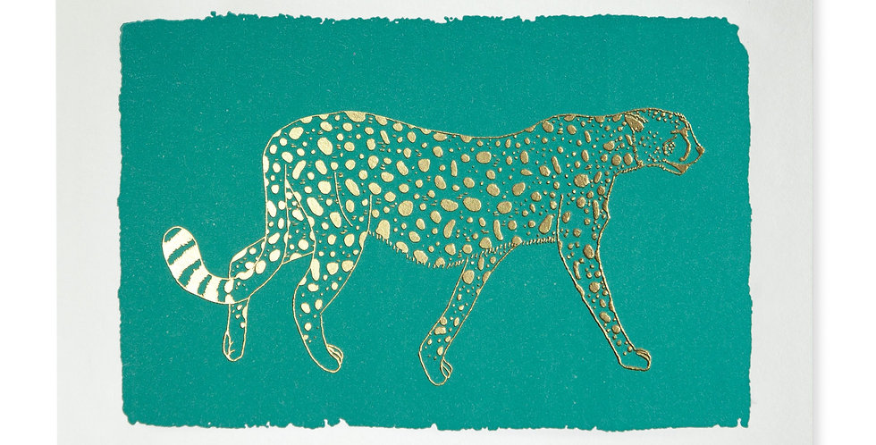 Turquoise Cheetah Note Card