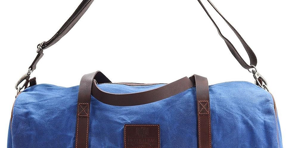 Blue Waxed Canvas Barrel Bag