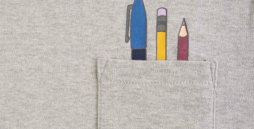Grey Pencil Design Thick T-Shirt