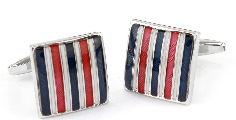 Navy & Red Stripe Square Cufflinks