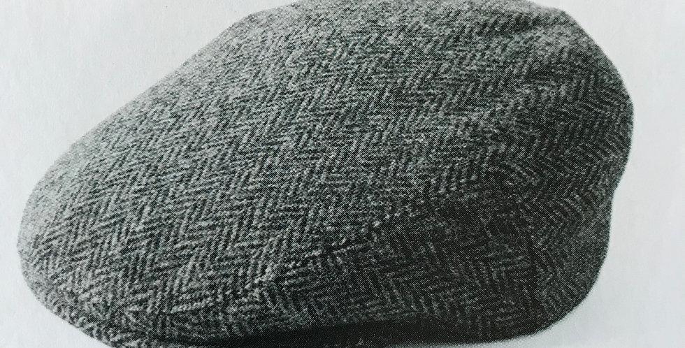Grey Herringbone Harris Tweed Flat Cap