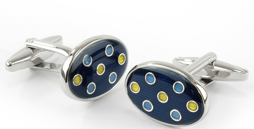 Navy with Yellow & Blue Spots Oval Cufflinks
