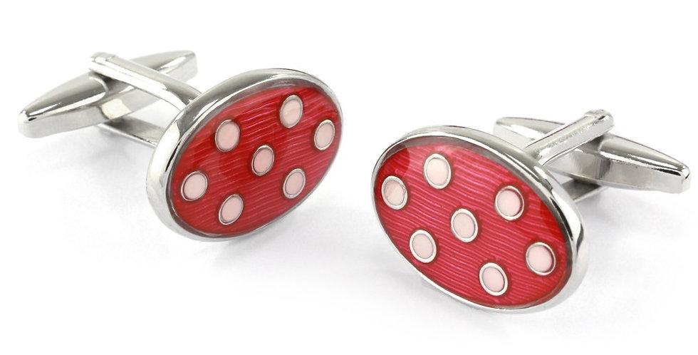 Red & White Spot Oval Cufflinks