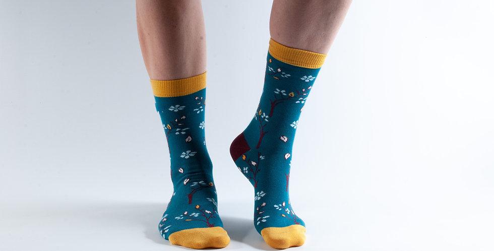 Size 3-7 Teal Tree Bamboo Socks