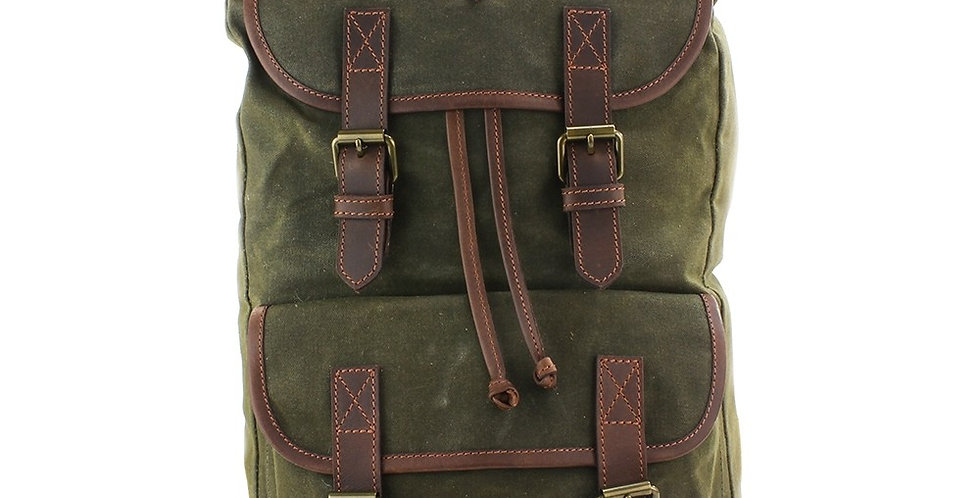 Green Waxed Canvas Rucksack