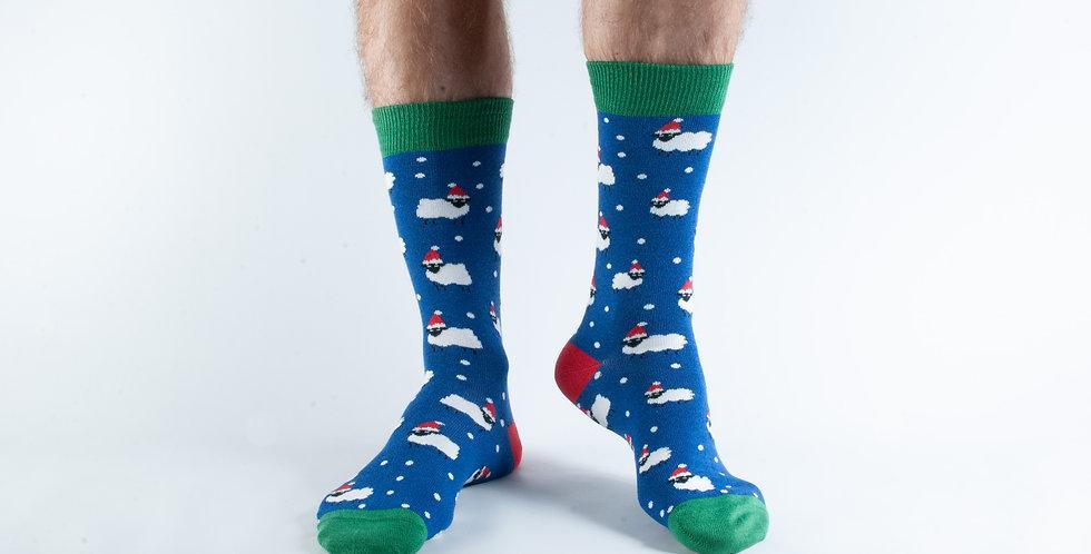 Size 7-11 Navy Xmas Sheep Bamboo Socks