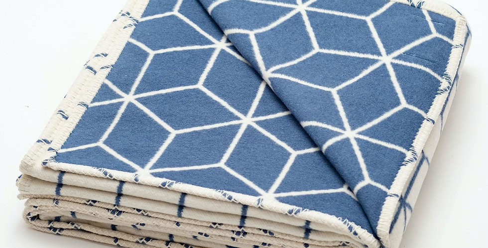 Blue Geometric Recycled Cotton Blanket