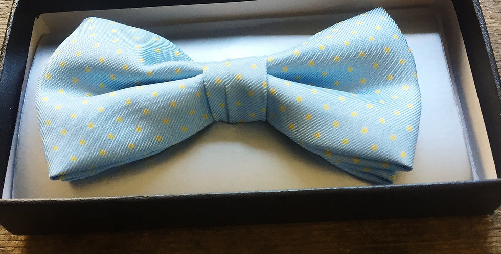 Pale Blue & Yellow Small Spot Bow Tie