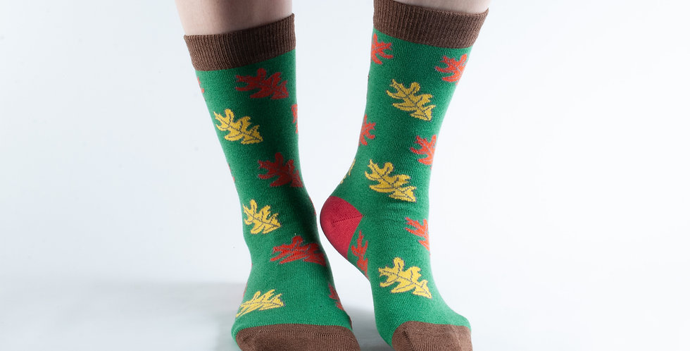 Size 3-7 Green Leaves Bamboo Socks